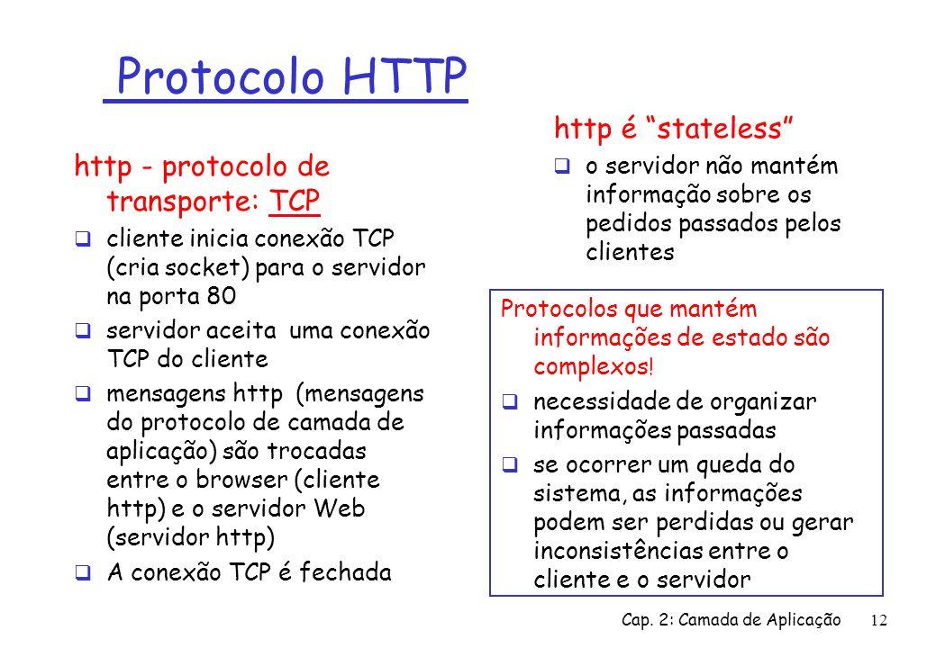 Cap. 2: Camada de Aplicação12 Protocolo HTTP http - protocolo de transporte: TCP cliente inicia conexão TCP (cria socket) para o servidor na porta 80