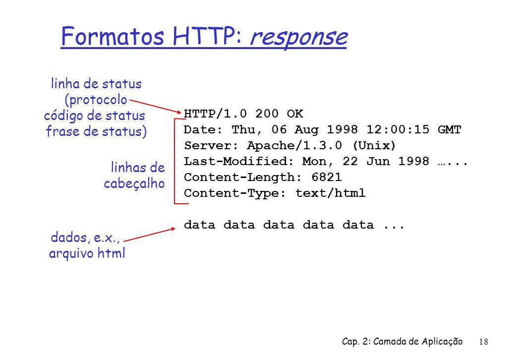Cap. 2: Camada de Aplicação18 Formatos HTTP: response HTTP/1.0 200 OK Date: Thu, 06 Aug 1998 12:00:15 GMT Server: Apache/1.3.0 (Unix) Last-Modified: M