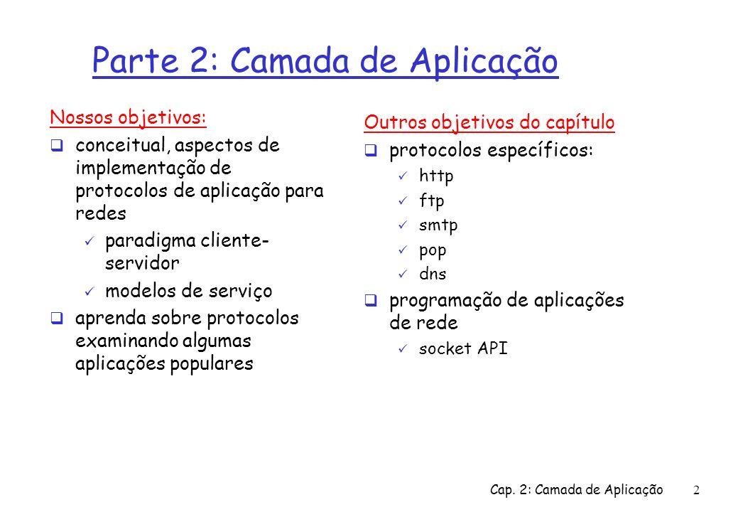 Cap. 2: Camada de Aplicação2 Parte 2: Camada de Aplicação Nossos objetivos: conceitual, aspectos de implementação de protocolos de aplicação para rede