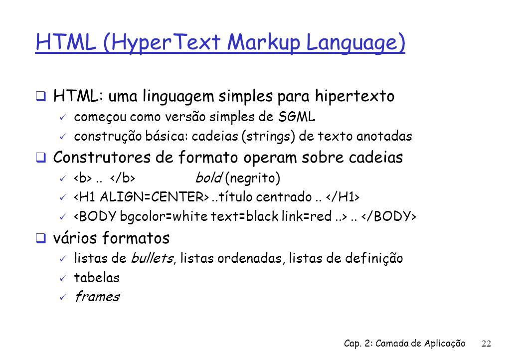 Cap. 2: Camada de Aplicação22 HTML (HyperText Markup Language) HTML: uma linguagem simples para hipertexto começou como versão simples de SGML constru