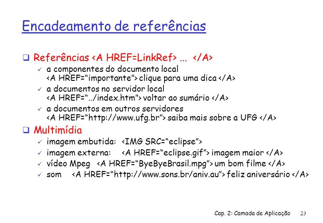 Cap. 2: Camada de Aplicação23 Encadeamento de referências Referências... a componentes do documento local clique para uma dica a documentos no servido