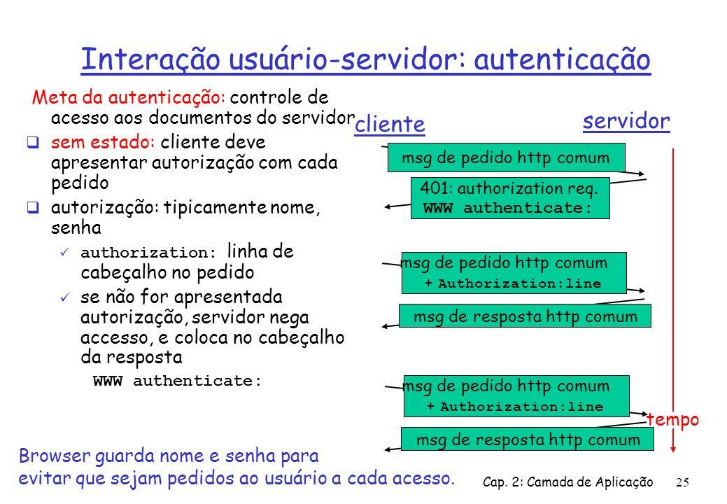 Cap. 2: Camada de Aplicação25 Interação usuário-servidor: autenticação Meta da autenticação: controle de acesso aos documentos do servidor sem estado: