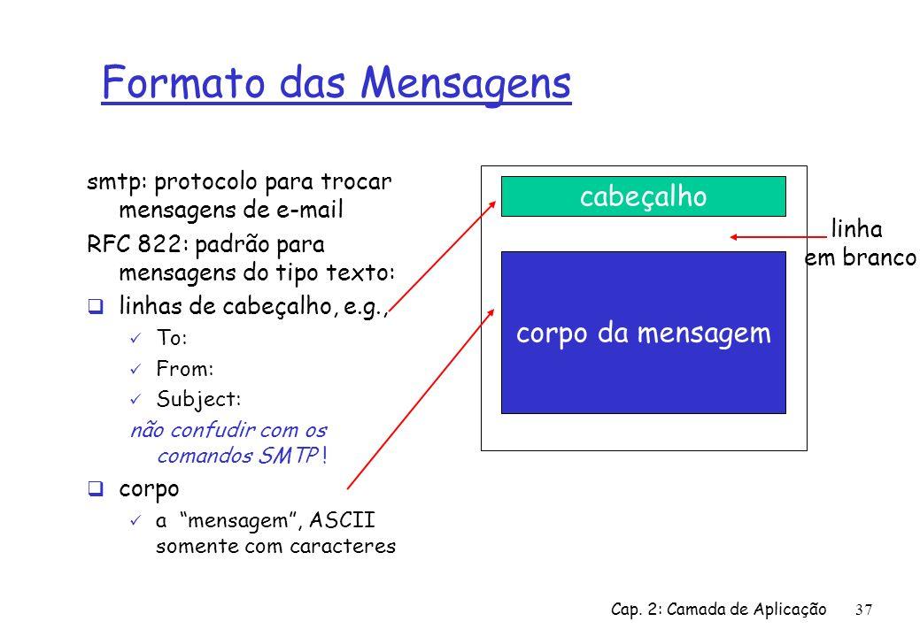 Cap. 2: Camada de Aplicação37 Formato das Mensagens smtp: protocolo para trocar mensagens de e-mail RFC 822: padrão para mensagens do tipo texto: linh