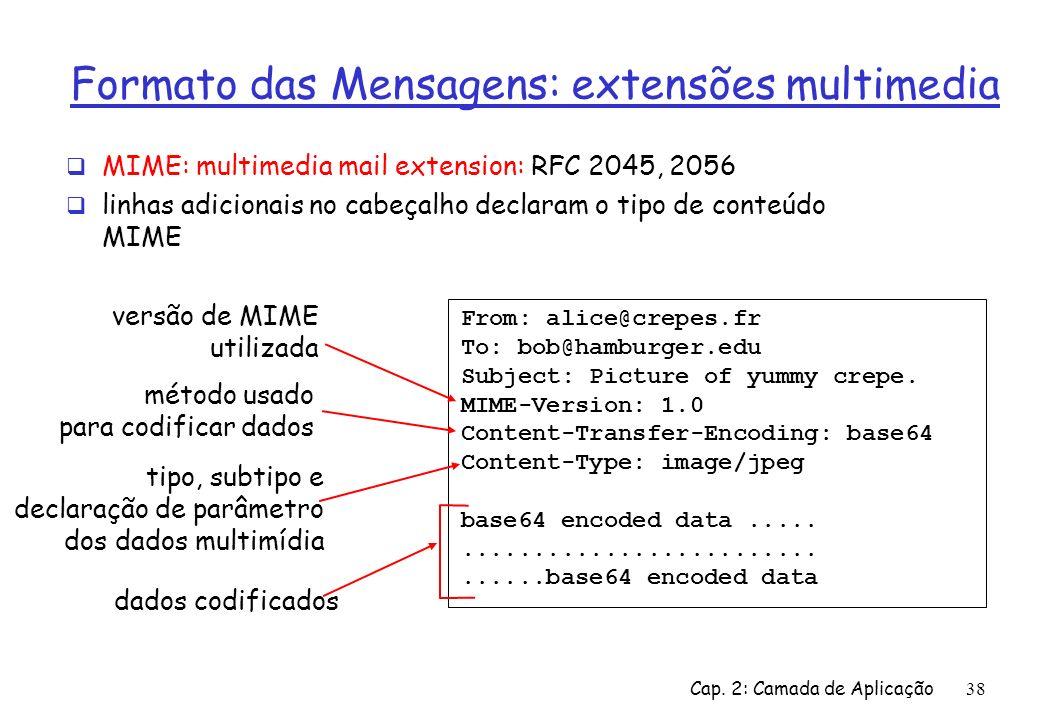 Cap. 2: Camada de Aplicação38 Formato das Mensagens: extensões multimedia MIME: multimedia mail extension: RFC 2045, 2056 linhas adicionais no cabeçal