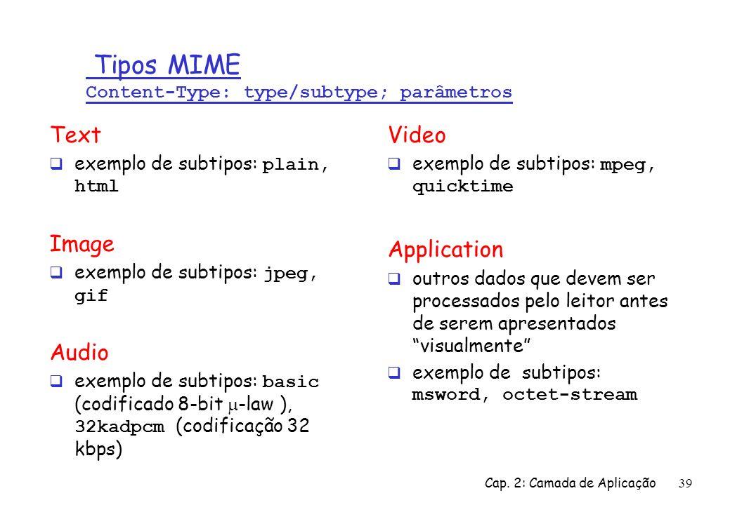 Cap. 2: Camada de Aplicação39 Tipos MIME Content-Type: type/subtype; parâmetros Text exemplo de subtipos: plain, html Image exemplo de subtipos: jpeg,