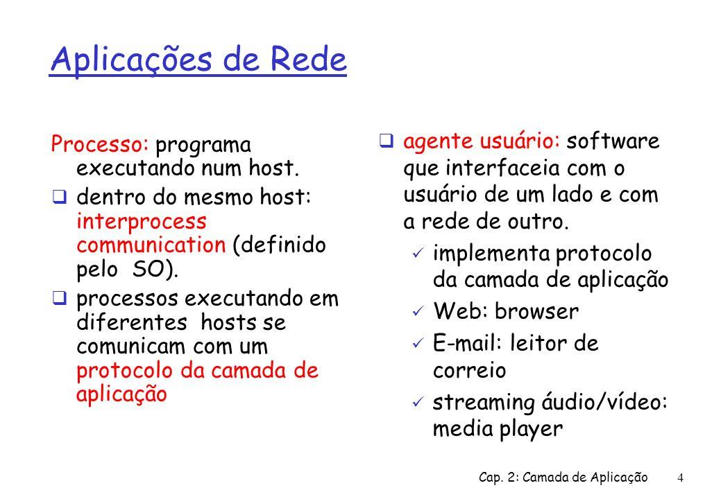 Cap. 2: Camada de Aplicação4 Aplicações de Rede Processo: programa executando num host. dentro do mesmo host: interprocess communication (definido pel