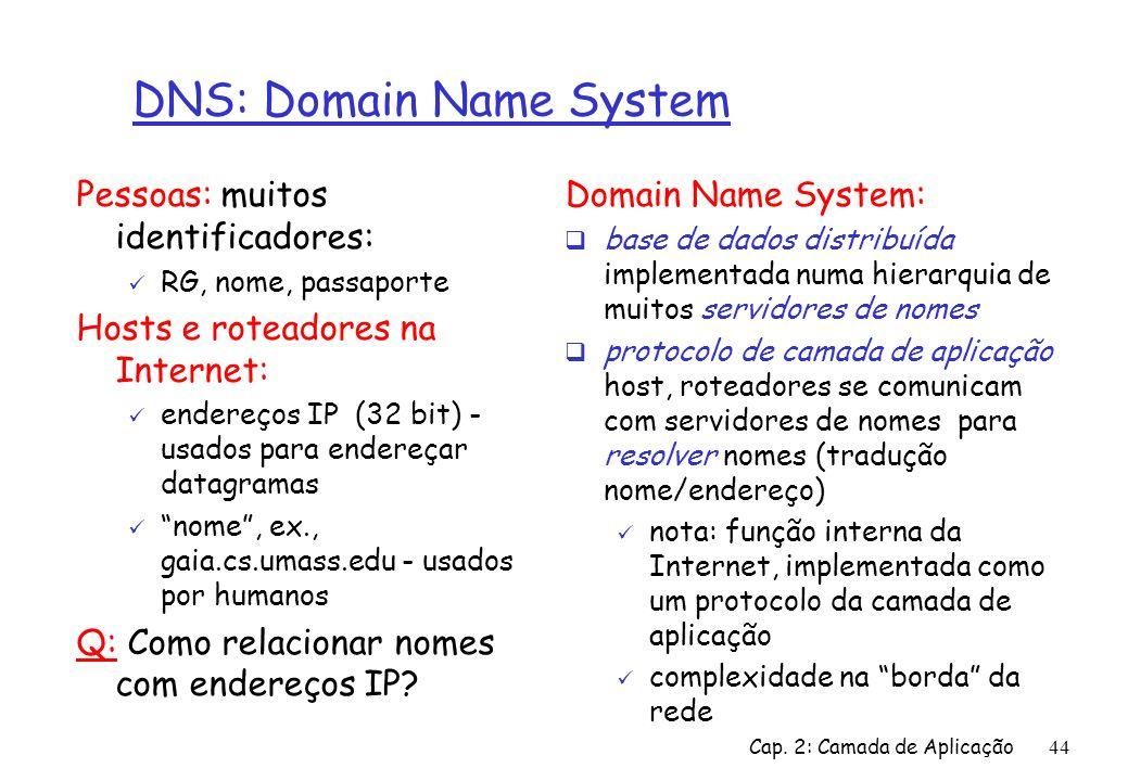 Cap. 2: Camada de Aplicação44 DNS: Domain Name System Pessoas: muitos identificadores: RG, nome, passaporte Hosts e roteadores na Internet: endereços