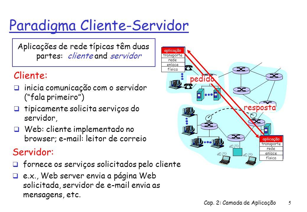Cap. 2: Camada de Aplicação5 Paradigma Cliente-Servidor Aplicações de rede típicas têm duas partes: cliente and servidor aplicação transporte rede enl