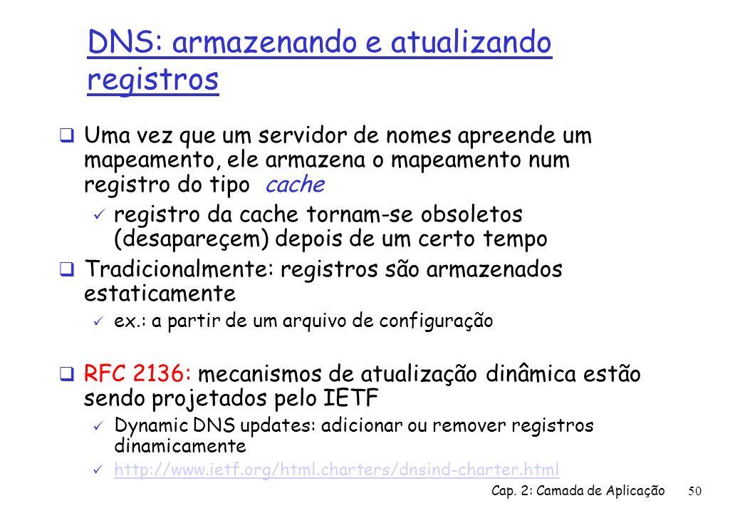 Cap. 2: Camada de Aplicação50 DNS: armazenando e atualizando registros Uma vez que um servidor de nomes apreende um mapeamento, ele armazena o mapeame