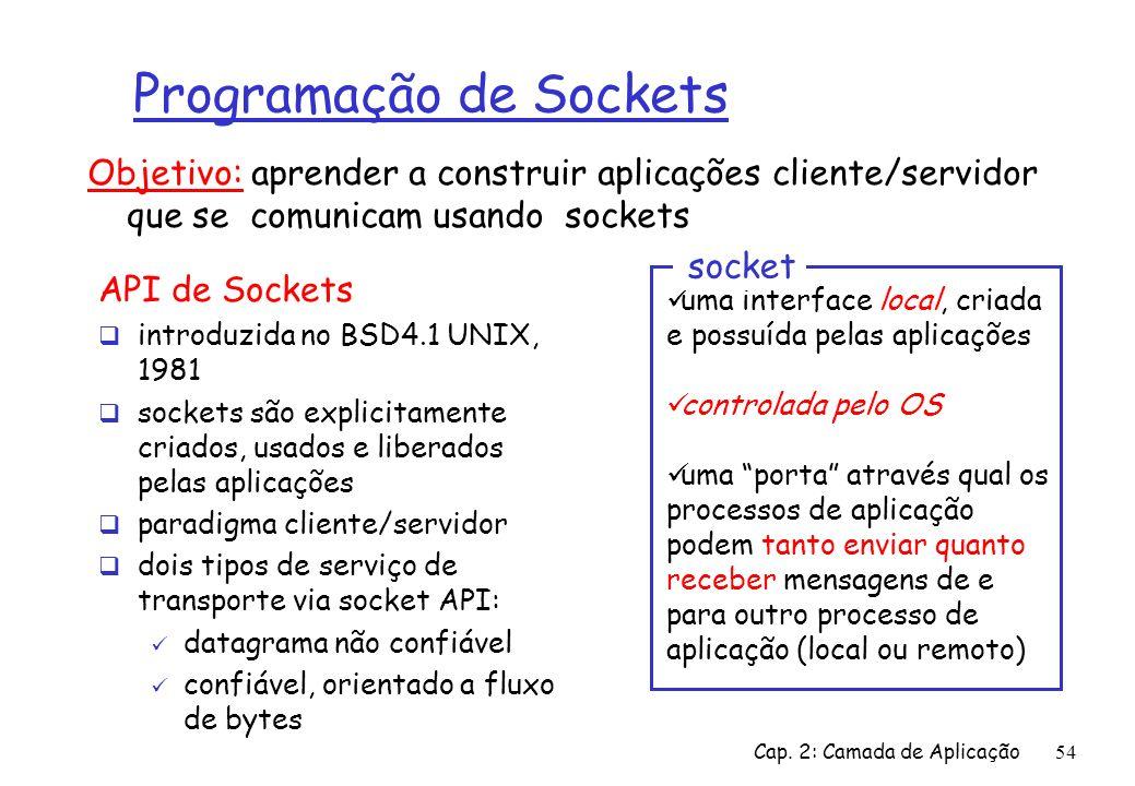 Cap. 2: Camada de Aplicação54 Programação de Sockets API de Sockets introduzida no BSD4.1 UNIX, 1981 sockets são explicitamente criados, usados e libe