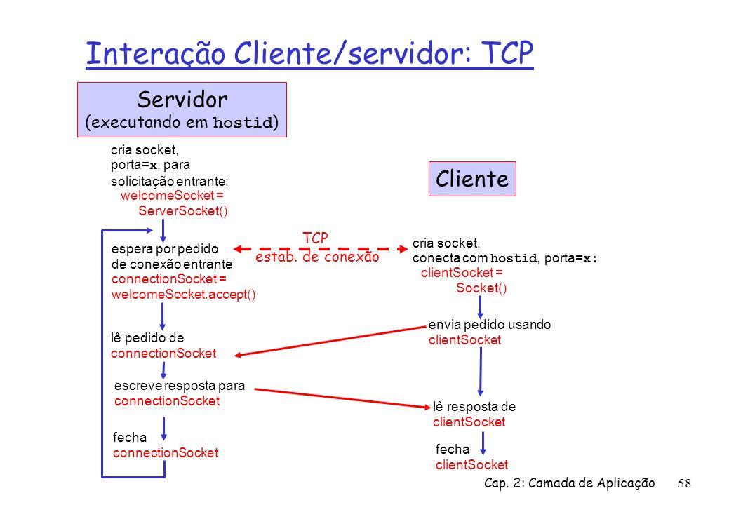 Cap. 2: Camada de Aplicação58 Interação Cliente/servidor: TCP espera por pedido de conexão entrante connectionSocket = welcomeSocket.accept() cria soc