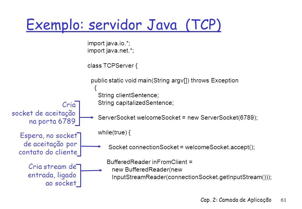 Cap. 2: Camada de Aplicação61 Exemplo: servidor Java (TCP) import java.io.*; import java.net.*; class TCPServer { public static void main(String argv[