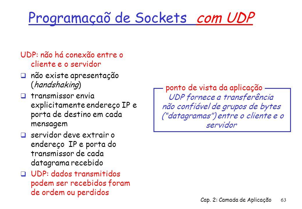 Cap. 2: Camada de Aplicação63 Programaçaõ de Sockets com UDP UDP: não há conexão entre o cliente e o servidor não existe apresentação (handshaking) tr