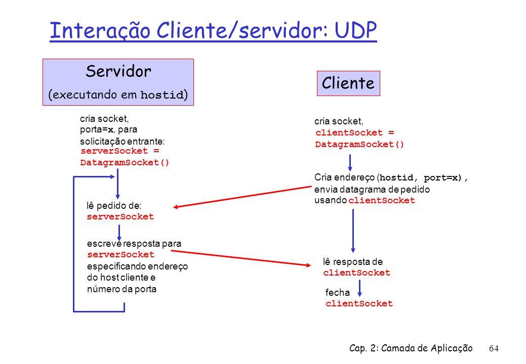 Cap. 2: Camada de Aplicação64 Interação Cliente/servidor: UDP fecha clientSocket Servidor (executando em hostid ) lê resposta de clientSocket cria soc