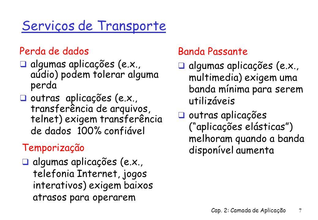 Cap.2: Camada de Aplicação8 Requisitos de Transporte de Aplicações Comuns Applicação transf.