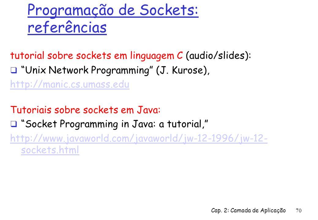Cap. 2: Camada de Aplicação70 Programação de Sockets: referências tutorial sobre sockets em linguagem C (audio/slides): Unix Network Programming (J. K