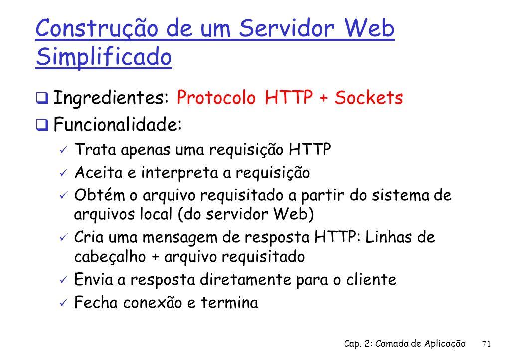 Cap. 2: Camada de Aplicação71 Construção de um Servidor Web Simplificado Ingredientes: Protocolo HTTP + Sockets Funcionalidade: Trata apenas uma requi