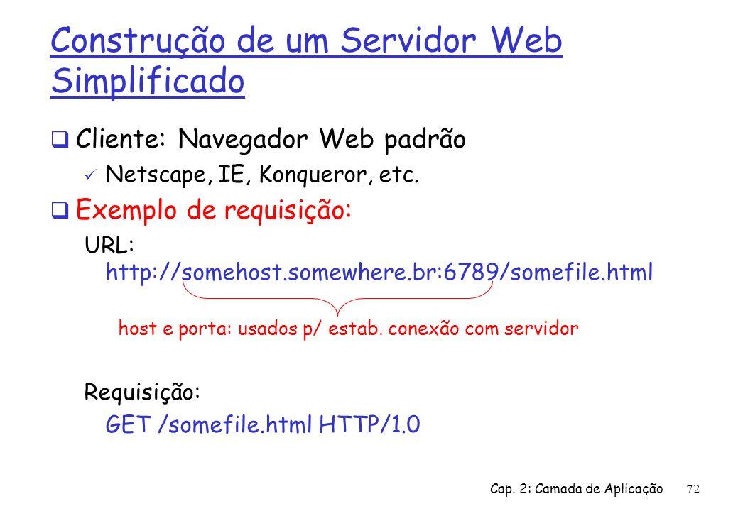 Cap. 2: Camada de Aplicação72 Construção de um Servidor Web Simplificado Cliente: Navegador Web padrão Netscape, IE, Konqueror, etc. Exemplo de requis