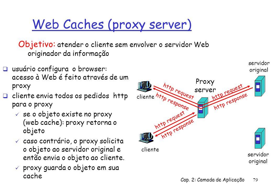 Cap. 2: Camada de Aplicação79 Web Caches (proxy server) usuário configura o browser: acesso à Web é feito através de um proxy cliente envia todos os p
