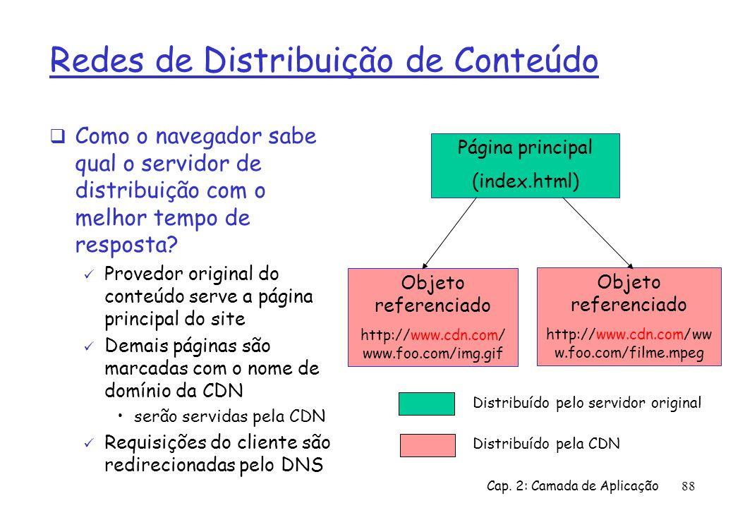 Cap. 2: Camada de Aplicação88 Redes de Distribuição de Conteúdo Como o navegador sabe qual o servidor de distribuição com o melhor tempo de resposta?