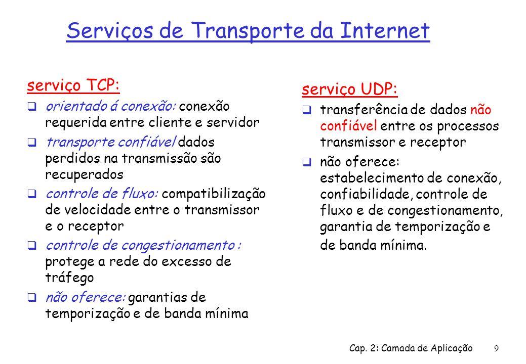 Cap. 2: Camada de Aplicação9 Serviços de Transporte da Internet serviço TCP: orientado á conexão: conexão requerida entre cliente e servidor transport