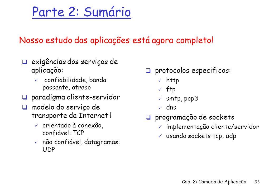 Cap. 2: Camada de Aplicação93 Parte 2: Sumário exigências dos serviços de aplicação: confiabilidade, banda passante, atraso paradigma cliente-servidor