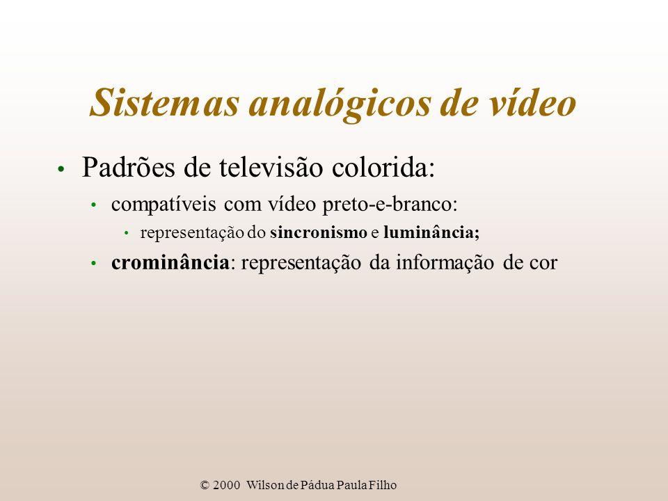 © 2000 Wilson de Pádua Paula Filho Sistemas analógicos de vídeo Padrões de televisão colorida: compatíveis com vídeo preto-e-branco: representação do