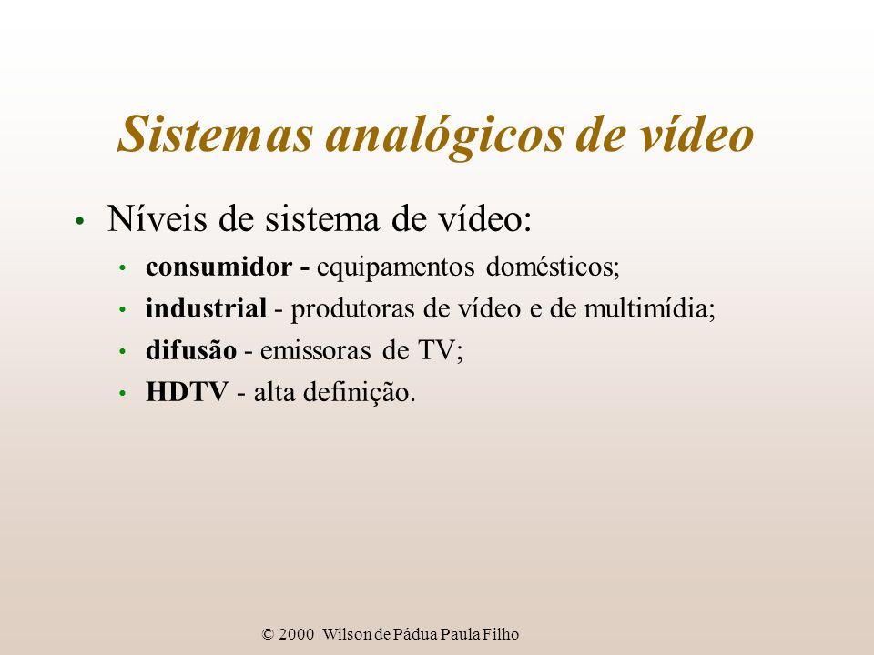 © 2000 Wilson de Pádua Paula Filho Sistemas analógicos de vídeo Níveis de sistema de vídeo: consumidor - equipamentos domésticos; industrial - produto