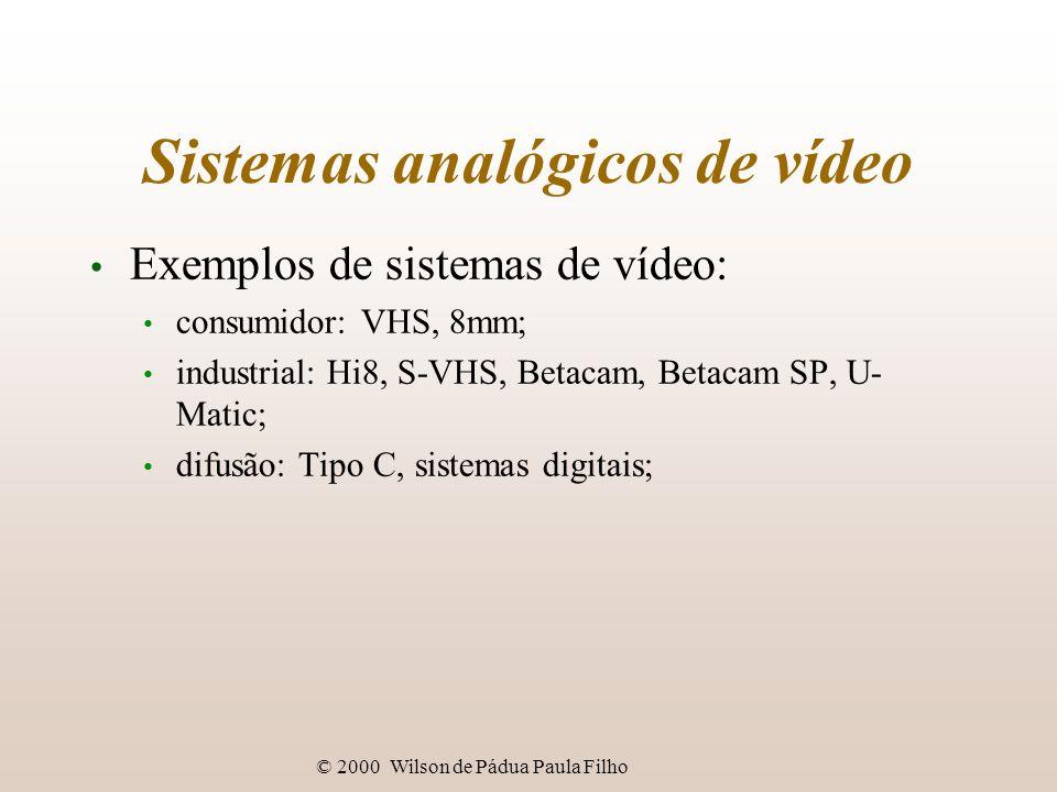© 2000 Wilson de Pádua Paula Filho Sistemas analógicos de vídeo Exemplos de sistemas de vídeo: consumidor: VHS, 8mm; industrial: Hi8, S-VHS, Betacam,