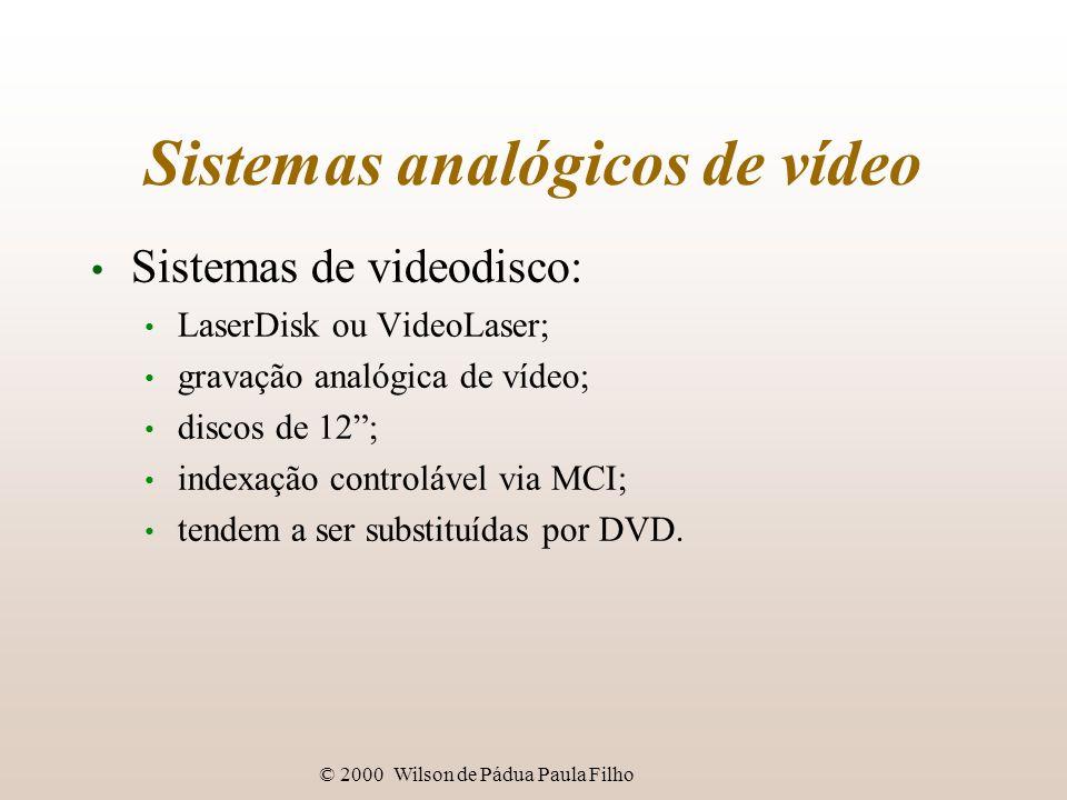 © 2000 Wilson de Pádua Paula Filho Sistemas analógicos de vídeo Sistemas de videodisco: LaserDisk ou VideoLaser; gravação analógica de vídeo; discos d