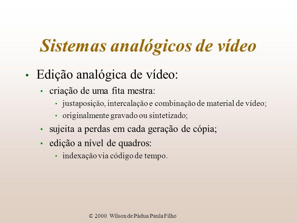 © 2000 Wilson de Pádua Paula Filho Sistemas analógicos de vídeo Edição analógica de vídeo: criação de uma fita mestra: justaposição, intercalação e co