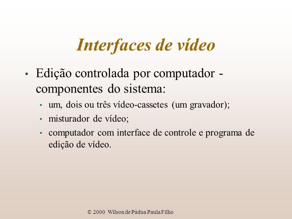 © 2000 Wilson de Pádua Paula Filho Interfaces de vídeo Edição controlada por computador - componentes do sistema: um, dois ou três vídeo-cassetes (um