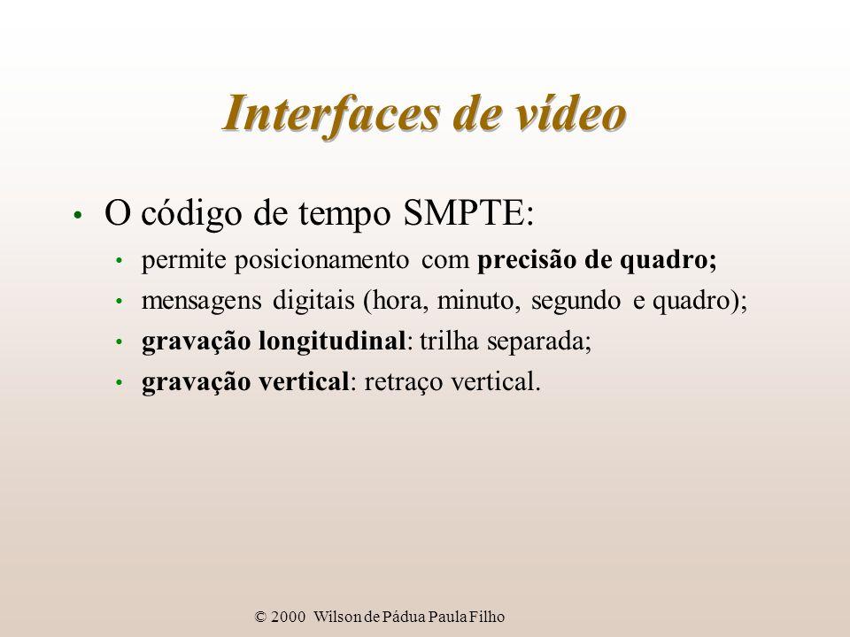 © 2000 Wilson de Pádua Paula Filho Interfaces de vídeo O código de tempo SMPTE: permite posicionamento com precisão de quadro; mensagens digitais (hor