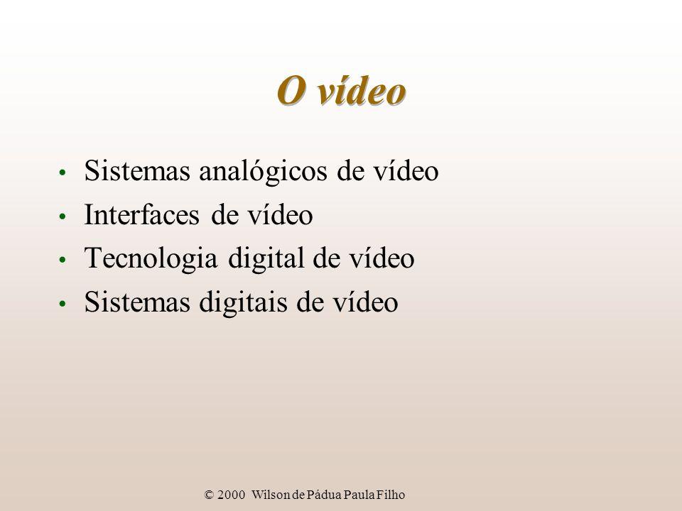 © 2000 Wilson de Pádua Paula Filho Tecnologia digital de vídeo Compressão da crominância: matiz e saturação podem ser codificados em metade dos bits da luminância; resolução espacial da visão, em relação à crominância, é metade da resolução espacial da luminância; basta armazenar matiz e saturação de pixels alternados de linhas alternadas: codificação 4:2:2.