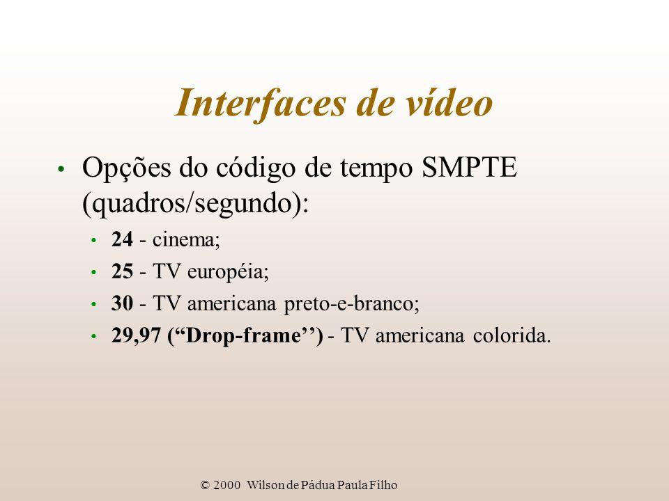 © 2000 Wilson de Pádua Paula Filho Interfaces de vídeo Opções do código de tempo SMPTE (quadros/segundo): 24 - cinema; 25 - TV européia; 30 - TV ameri