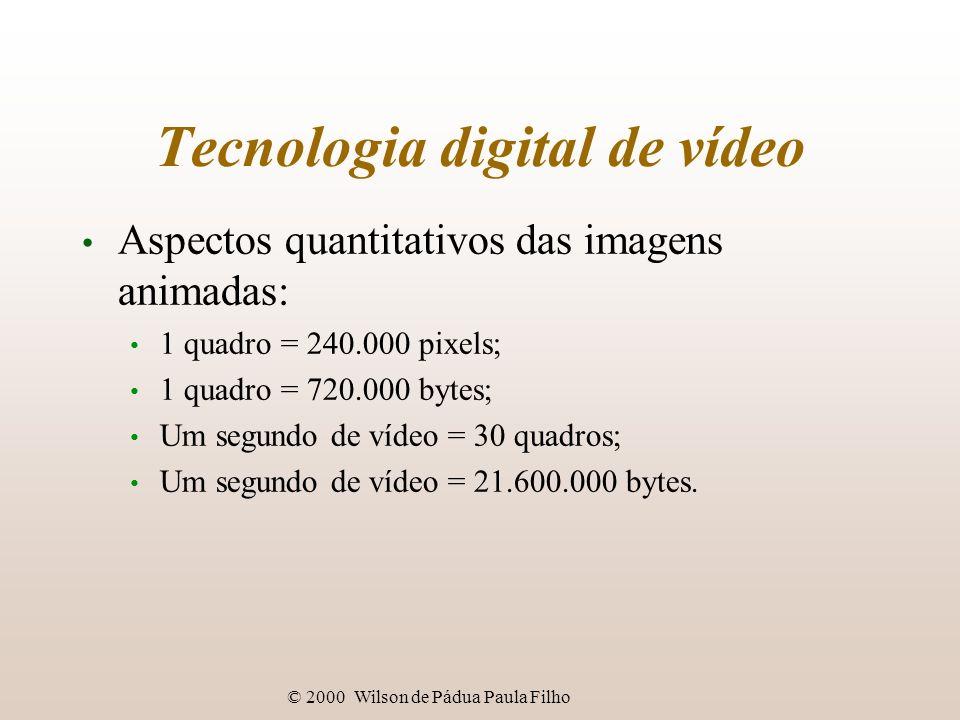 © 2000 Wilson de Pádua Paula Filho Tecnologia digital de vídeo Aspectos quantitativos das imagens animadas: 1 quadro = 240.000 pixels; 1 quadro = 720.