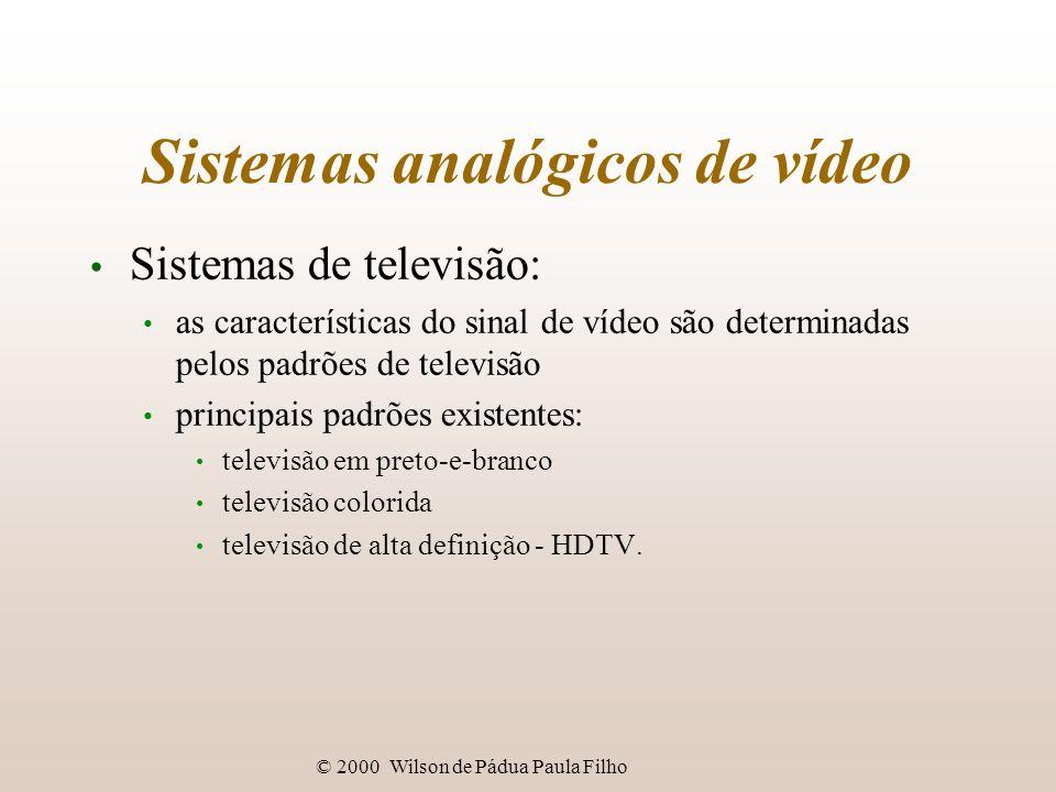 © 2000 Wilson de Pádua Paula Filho Sistemas analógicos de vídeo Exemplos de sistemas de vídeo: consumidor: VHS, 8mm; industrial: Hi8, S-VHS, Betacam, Betacam SP, U- Matic; difusão: Tipo C, sistemas digitais;