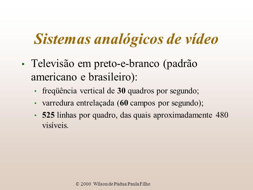 © 2000 Wilson de Pádua Paula Filho Tecnologia digital de vídeo Compressão de vídeo: algoritmos codificadores-decodificadores: codecs; tipos de compressão: sem perdas x com perdas (lossy); compressão com perdas apresenta degradação por gerações.