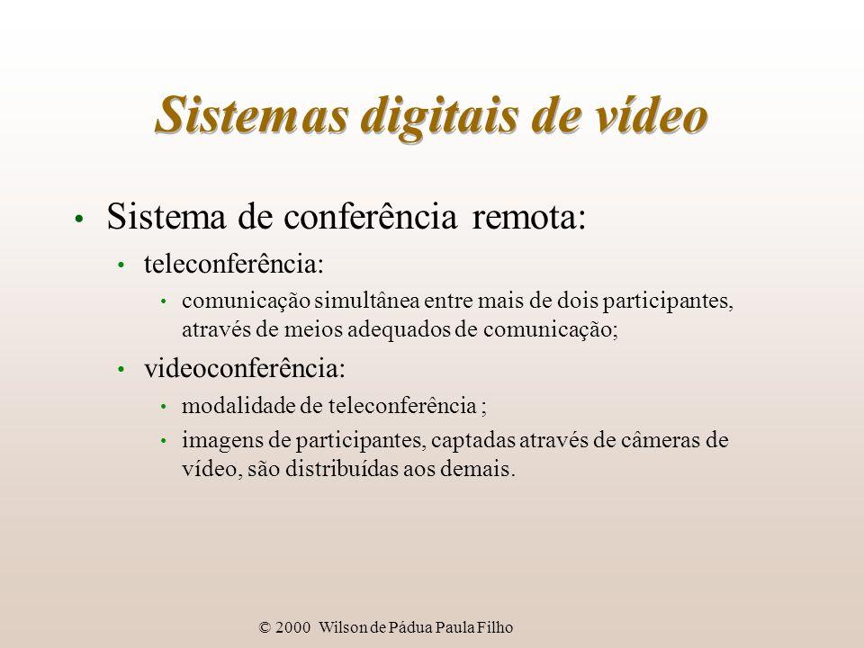 © 2000 Wilson de Pádua Paula Filho Sistemas digitais de vídeo Sistema de conferência remota: teleconferência: comunicação simultânea entre mais de doi