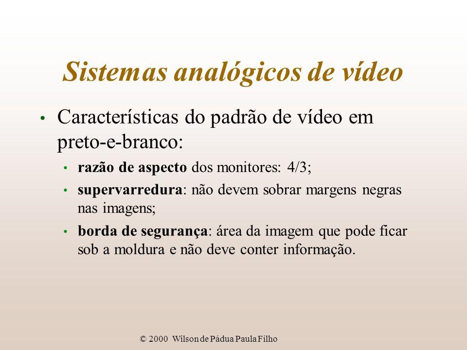 © 2000 Wilson de Pádua Paula Filho Tecnologia digital de vídeo Compressão de vídeo: algoritmos com perdas permitem compromisso entre: grau de compressão; qualidade (grau de perdas); tempo para compressão; tempo para descompressão.