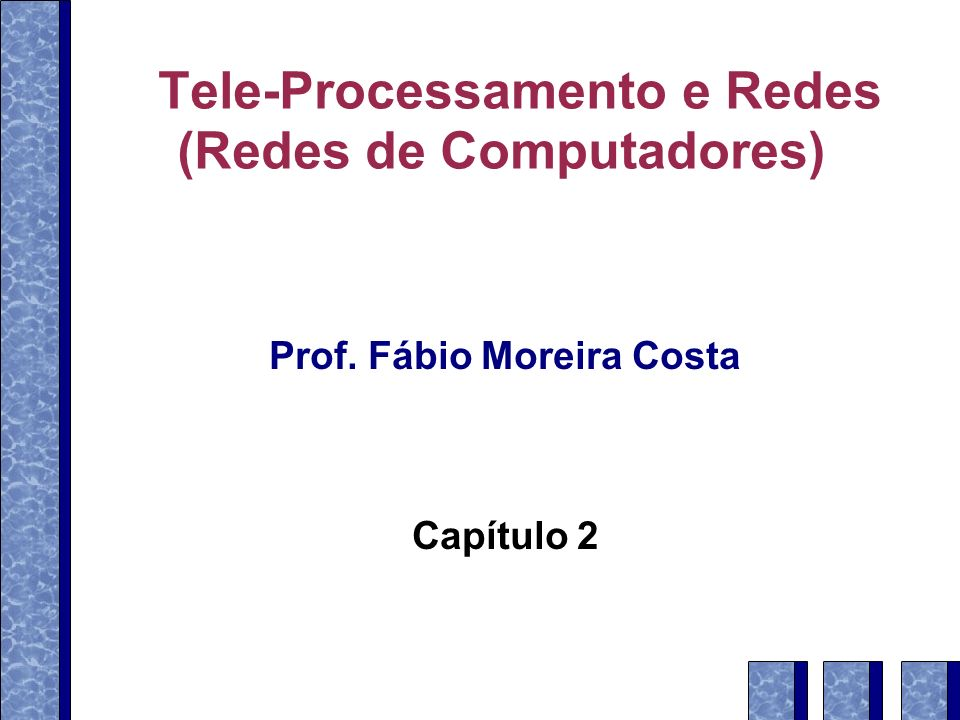 Características de sinais periódicos Amplitude de pico Máxima potência (força) do sinal Medida em Volts Freqüência (f ) Taxa de mudança do sinal Medida em Hertz (Hz): ciclos por segundo Período (T ): duração de uma repetição do sinal T = 1 / f Phase (Φ) Posição relativa do sinal no tempo 12 Teleprocessamento e Redes – Prof.