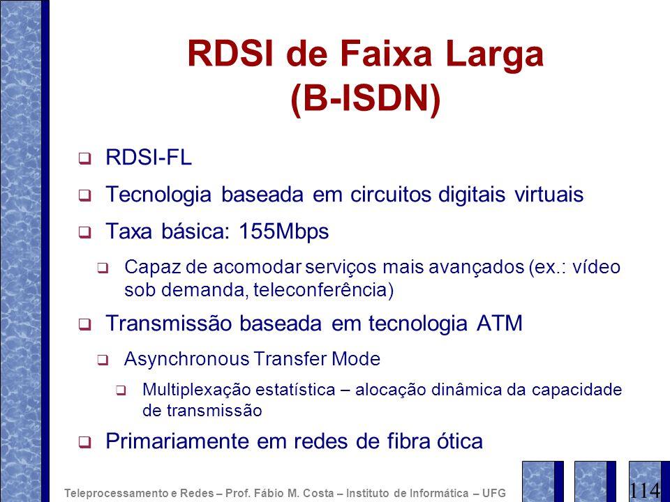 RDSI de Faixa Larga (B-ISDN) RDSI-FL Tecnologia baseada em circuitos digitais virtuais Taxa básica: 155Mbps Capaz de acomodar serviços mais avançados