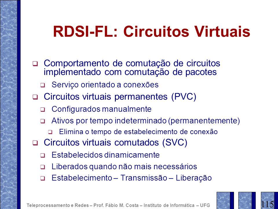 RDSI-FL: Circuitos Virtuais Comportamento de comutação de circuitos implementado com comutação de pacotes Serviço orientado a conexões Circuitos virtu