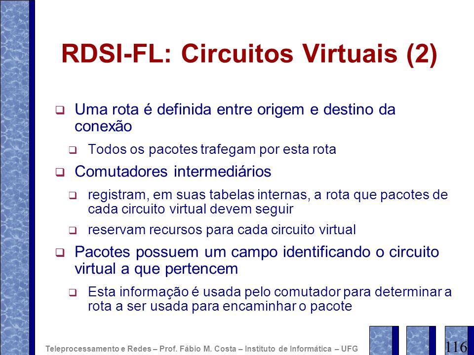 RDSI-FL: Circuitos Virtuais (2) Uma rota é definida entre origem e destino da conexão Todos os pacotes trafegam por esta rota Comutadores intermediári