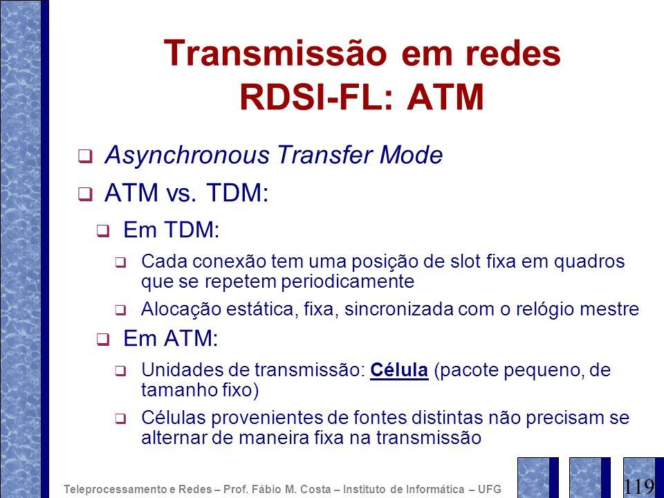 Transmissão em redes RDSI-FL: ATM Asynchronous Transfer Mode ATM vs. TDM: Em TDM: Cada conexão tem uma posição de slot fixa em quadros que se repetem