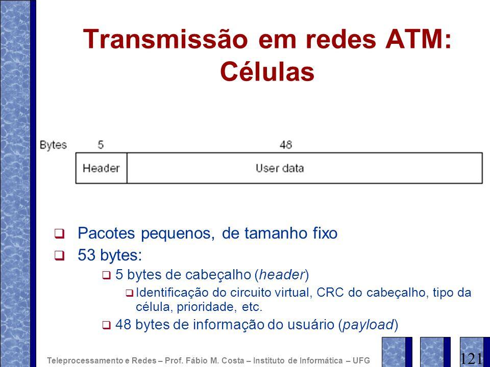 Transmissão em redes ATM: Células Pacotes pequenos, de tamanho fixo 53 bytes: 5 bytes de cabeçalho (header) Identificação do circuito virtual, CRC do