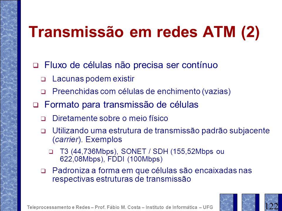 Transmissão em redes ATM (2) Fluxo de células não precisa ser contínuo Lacunas podem existir Preenchidas com células de enchimento (vazias) Formato pa