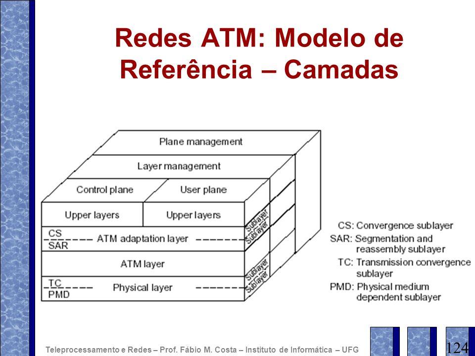 Redes ATM: Modelo de Referência – Camadas 124 Teleprocessamento e Redes – Prof. Fábio M. Costa – Instituto de Informática – UFG