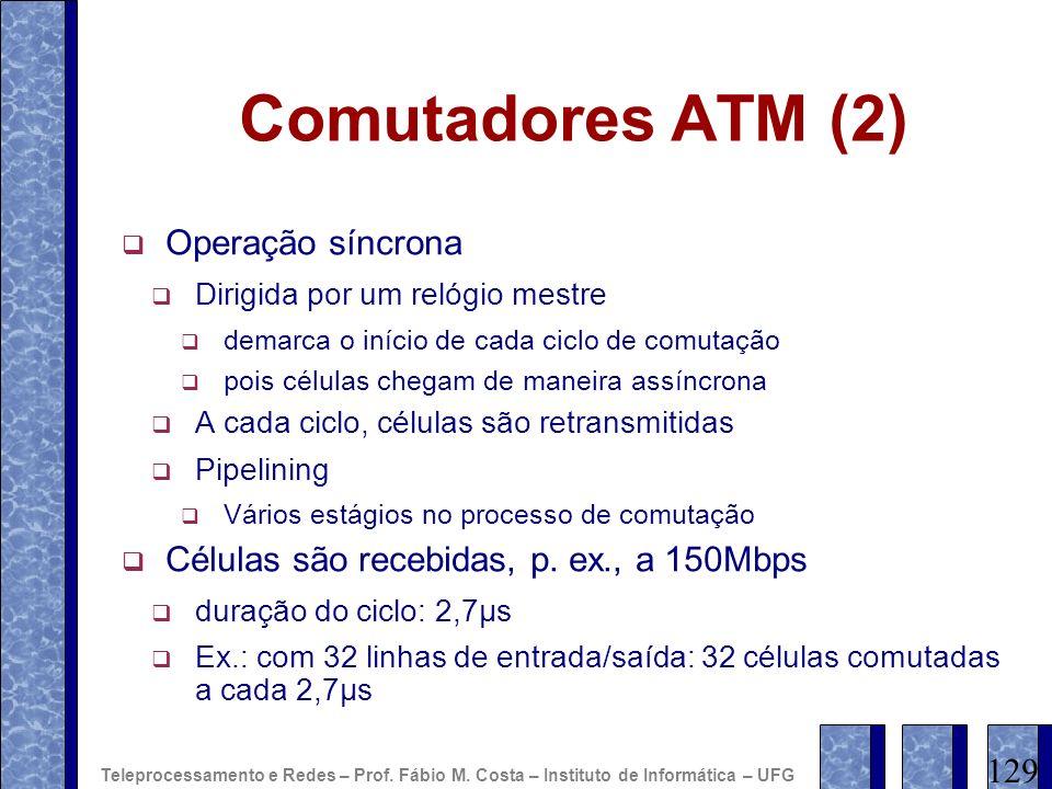 Comutadores ATM (2) Operação síncrona Dirigida por um relógio mestre demarca o início de cada ciclo de comutação pois células chegam de maneira assínc