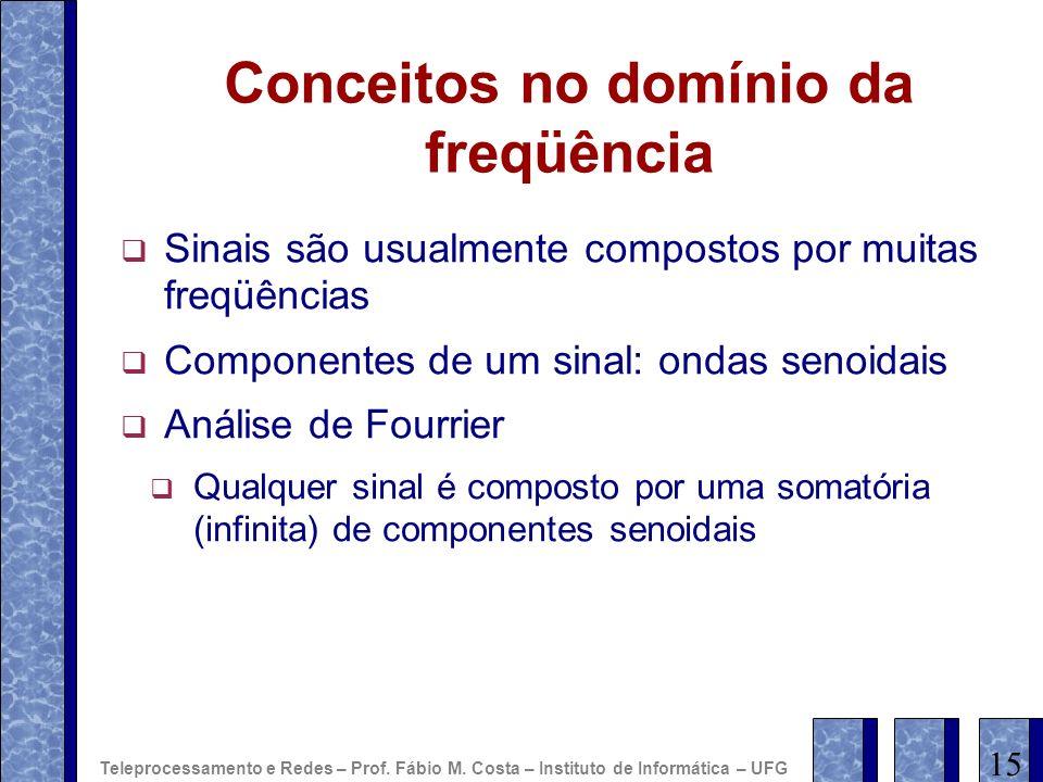 Conceitos no domínio da freqüência Sinais são usualmente compostos por muitas freqüências Componentes de um sinal: ondas senoidais Análise de Fourrier